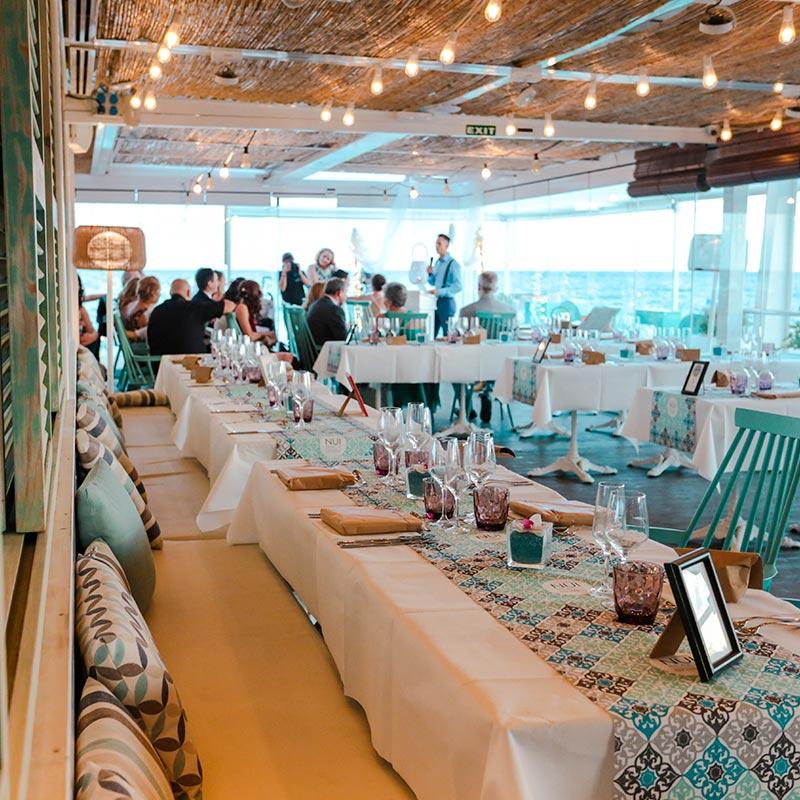 decoración interior boda nui beach